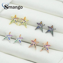 5 Pairs,The Rainbow Series,The Big Star Shape Earrings for Women,Fashion Design, 4 Plating Color,Can Mix Can Wholesale