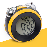 Workday Alarm Clock, Large Number Metal Double Ring Bell,Orange/ Yellow / White Color Ngiht light Table Clock With Battery Power