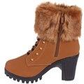 Nuevo 2016 botas femenina de las mujeres, además de terciopelo botas cortas gruesas botas de tacón de moda cremallera lateral botas de tobillo para las mujeres de invierno zapatos