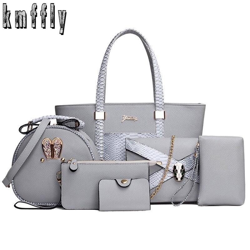 New woman bag Shoulder Bag 6PCS/Set Ladies Casual PU Leather Handbag Women Mess