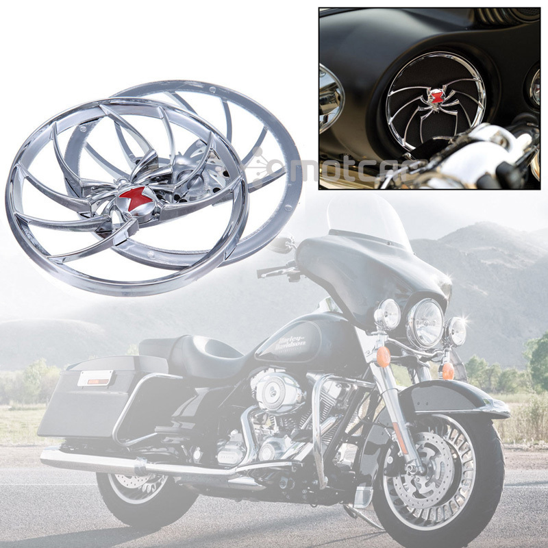 Honest Brand New 2x Chrome Silver Plastic Spider Protective Chrome Widow Speaker Grill Cover For Harley Electra Glide Flht 96-13 #0662 Automobiles & Motorcycles