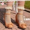 Princesa dulce lolita soks summer vintage de encaje de hilo vacío decoración calcetines de la princesa calcetín pila de pila de calcetines calcetines femeninos