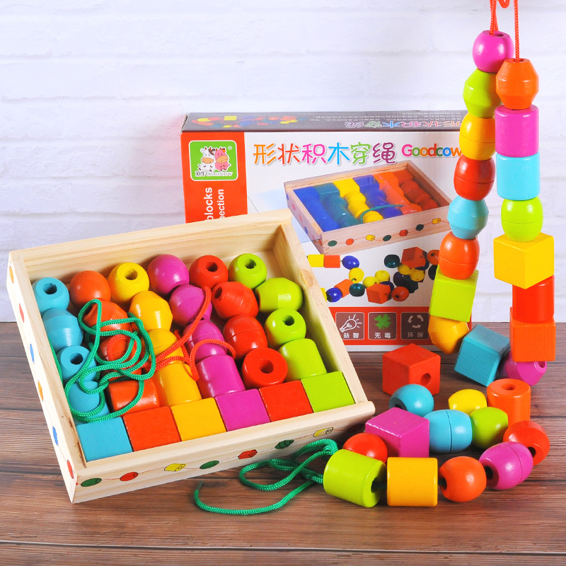Toy Beads Shape Threading Tangram/Jigsaw Board Wooden Toys Shape Blocks DIY Beads Blocks Early Education Toys For Kids 125