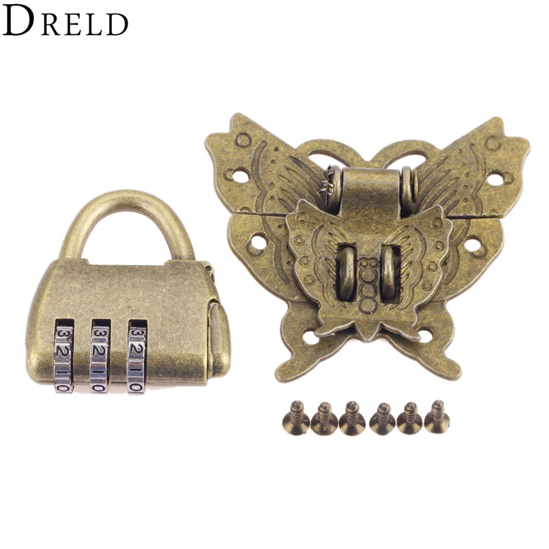DRELD Brass Hardware Vintage Wooden Box Cabinet Toggle Latch Hasp+Antique Chinese Old Padlock Furniture Accessories with ScrewsDRELD Brass Hardware Vintage Wooden Box Cabinet Toggle Latch Hasp+Antique Chinese Old Padlock Furniture Accessories with Screws