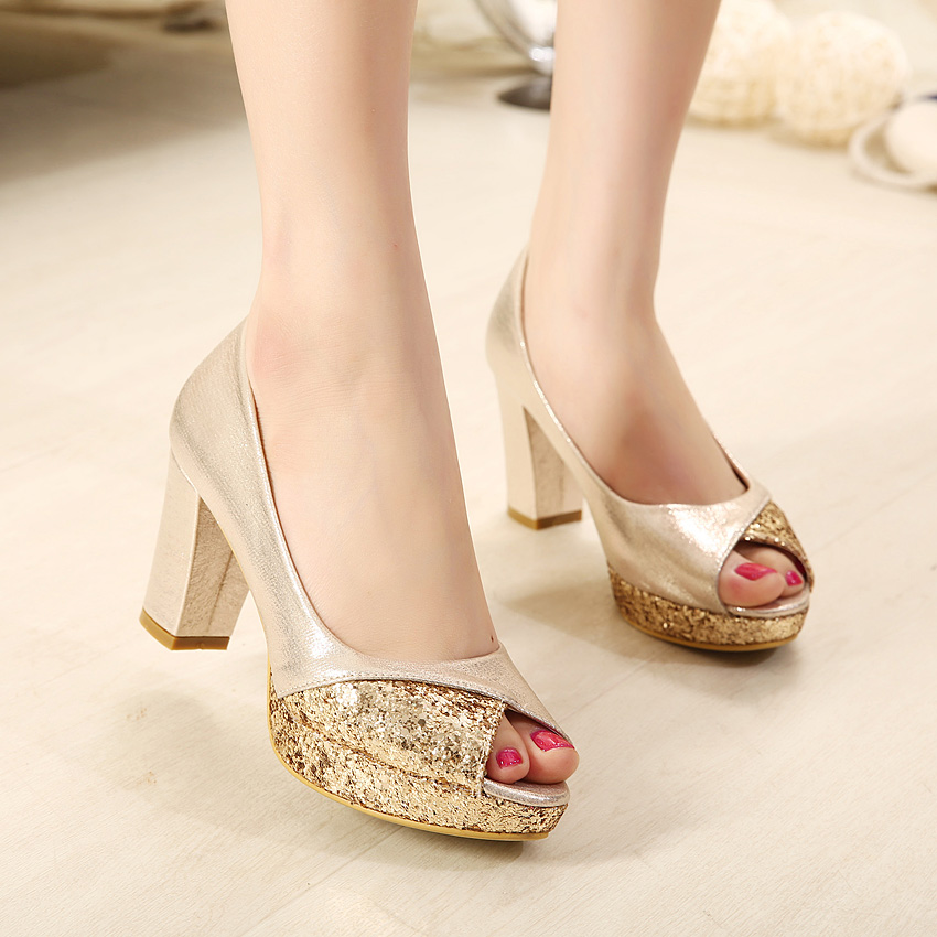 Aliexpress.com : Buy Elegant thick heel open toe office lady shoes ...