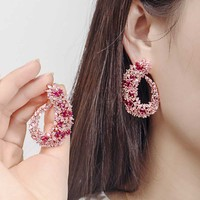 Dazz New Luxury Rose Elegant Stud Earrings Unique Design Round Earring Pink Crystal Women Banquet Wedding African Zircon Jewelry