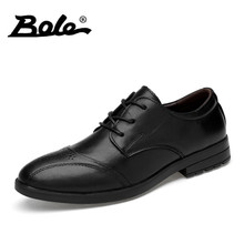 BOLE Men Genuine Leather Dress Shoes Breathable Men Brogue Shoes Pointed Lace Up Men Formal Shoes Size 38-45