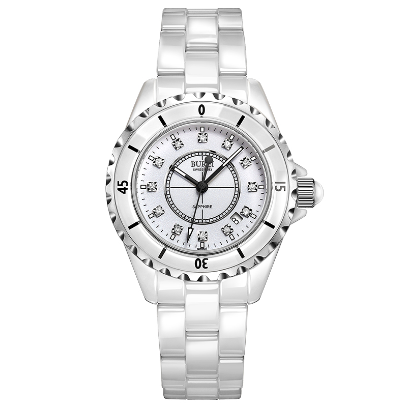 BUREI 18003 Switzerland watch women luxury brand J12 series pearl Ceramic calendar fashion diamond white relogio feminino цена