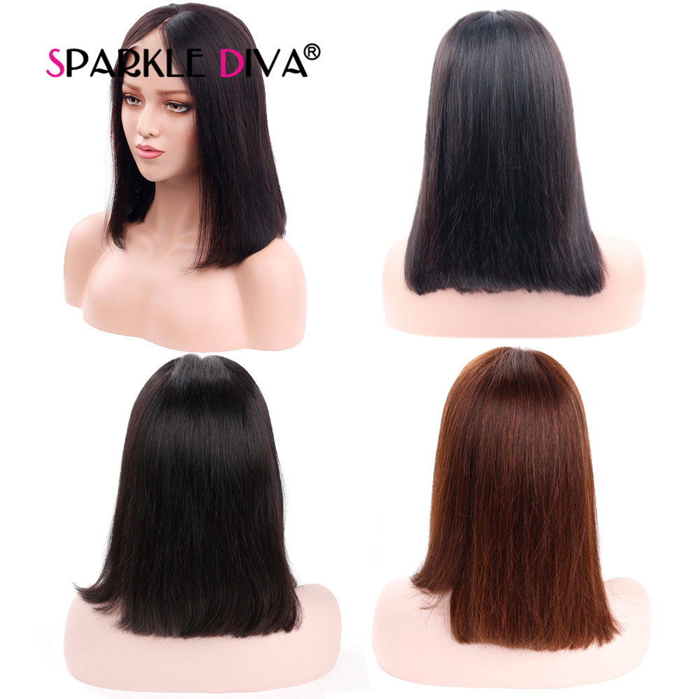 Straight Lace Frontal Wigs Pre Plucked With Baby Hair Brazilian Remy Human Hair Wigs 130% Density Short Bob Wigs SPRAKLE DIVA