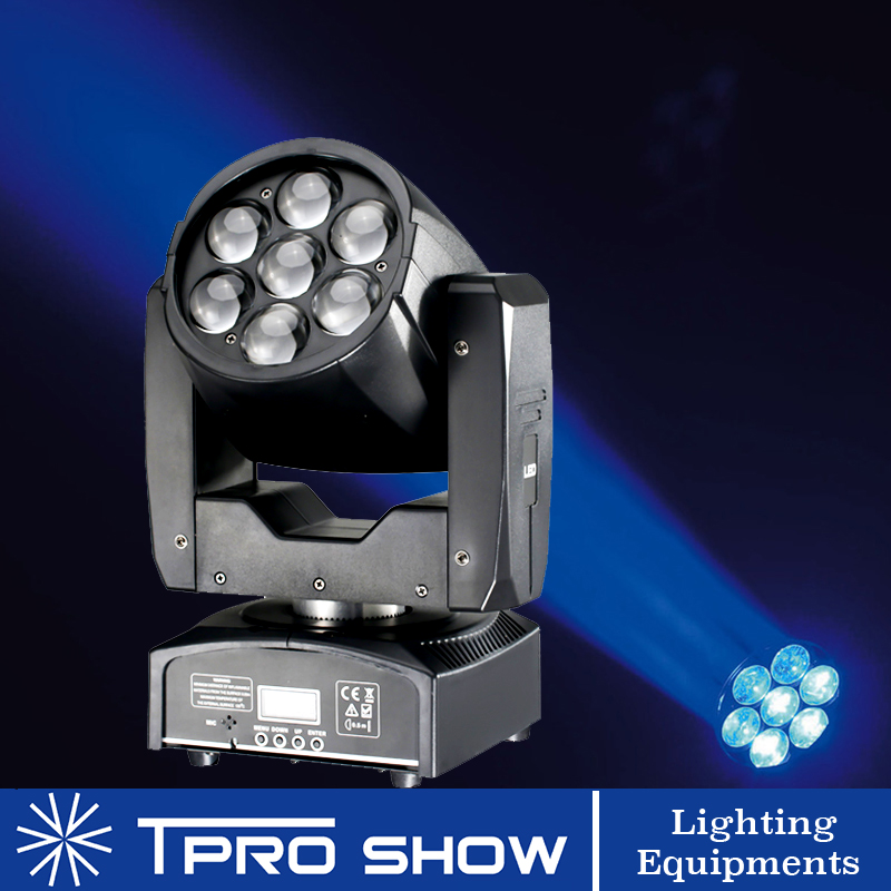 Zoom LED Wash 7x15W Mini Moving Head DMX Lyre Stage Lighting Effect RGBW Colors Mixing Beam Wash Lights For Wedding Club Disco