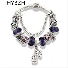 2017 Europe various style Fashion Jewelry Crown charm Bracelets & Bangles violet Glass European Beads fits bead bracelets for Wo
