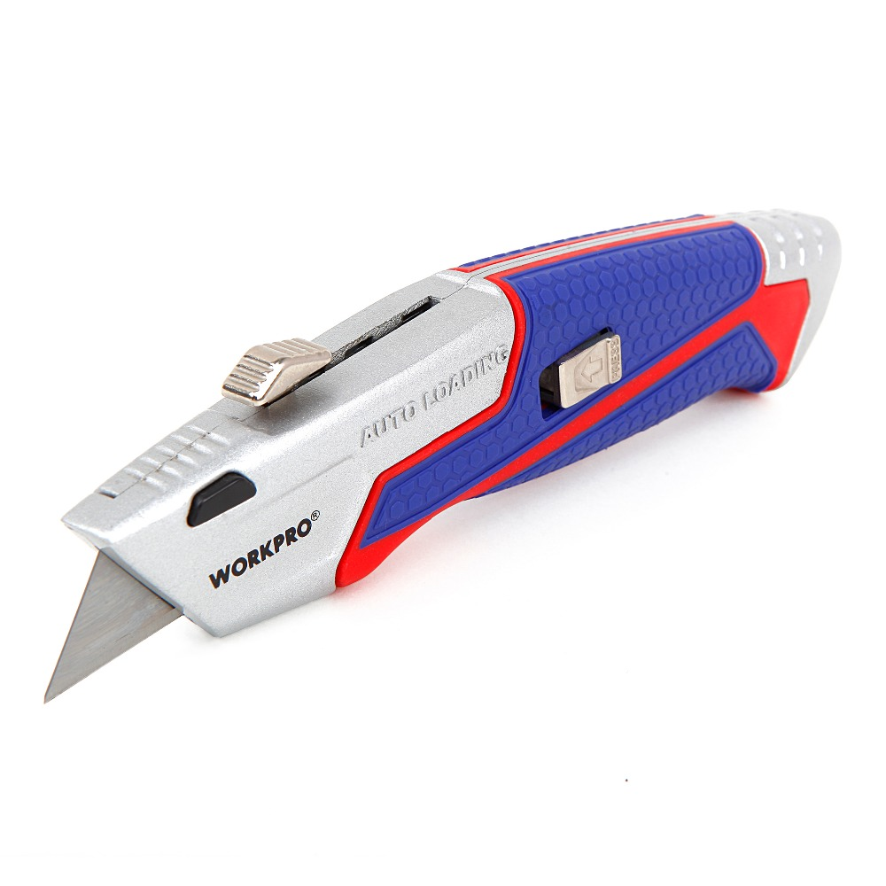 WORKPRO Fixed Blade Knife Multi Purpose Knife Auto-Loading Retractable Utility Knife with Extra Blades цена
