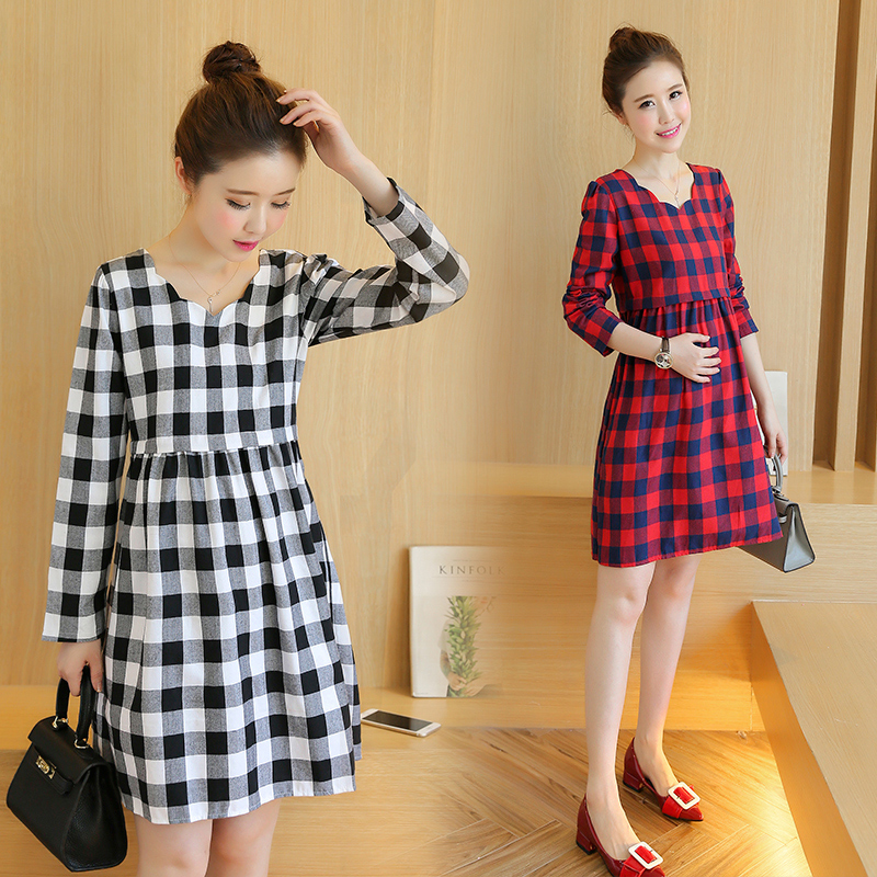 97bb517a3e8 Maternity Dress Spring Autumn Maternity Clothes for Pregnant Women Long  Sleeve Grid Loose Pregnancy Clothes Casual Gravidas-in Dresses from Mother    Kids on ...