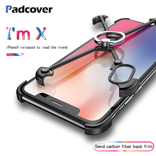 PADCOVER X Shape Ring Holder case For iPhone Personality Shell for Cover Luxury Metal Bumper With Gift Glass Film