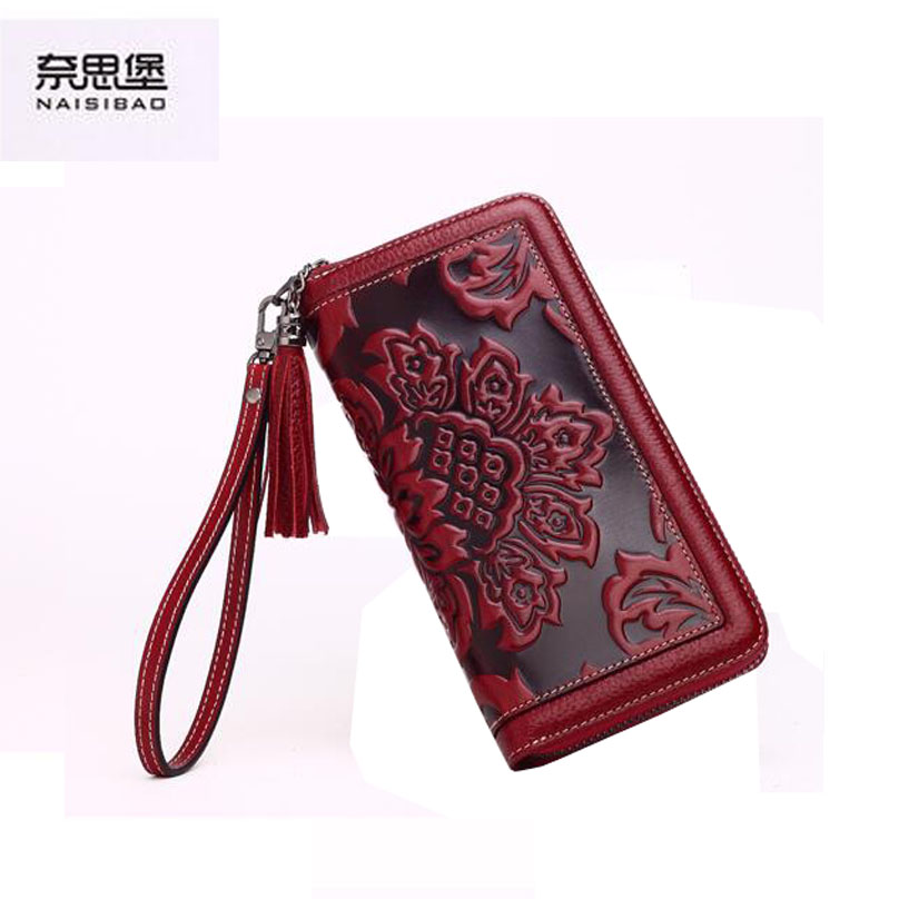 ФОТО 2016 New Women genuine leather wallet brands fashion chinese style embossing purse quality leather clutch bag women wallets