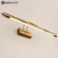 YUNLIGHTS 110v 240v 50CM 8 W Wall Lamp Luxury Bathroom Mirror Lamp Waterproof Retro Bronze Cabinet Vanity Mirror Lights