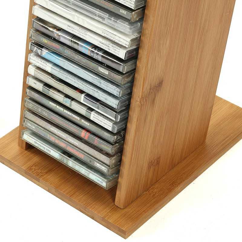 High Capacity Bamboo Material Cd Stand Dvd Rack Ps4 Storage Blu Ray Disc Shelf Black Film Receiving