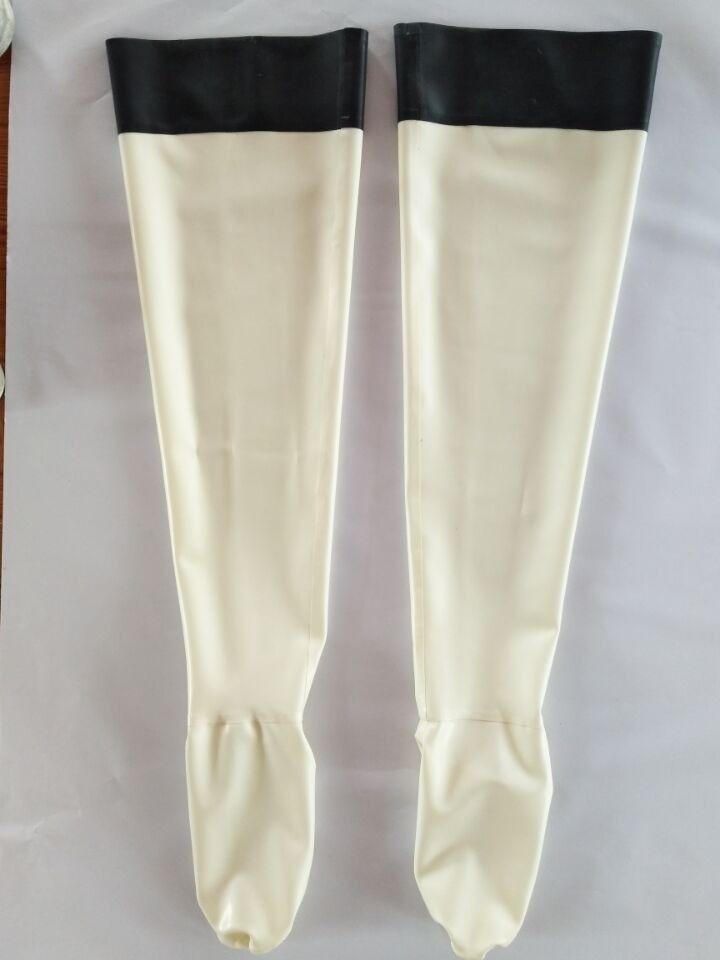 Latex Stocking Rubber White Feet Sock Black Stocking Tight Size XS~XXL