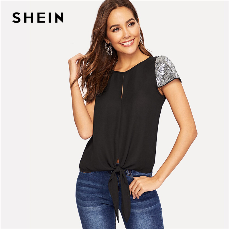 SHEIN Sequin Sleeve Knot Hem Blouse Casual Solid Split Cap Sleeve Round Neck Blouse 2019 Summer Women Tops And Blouses