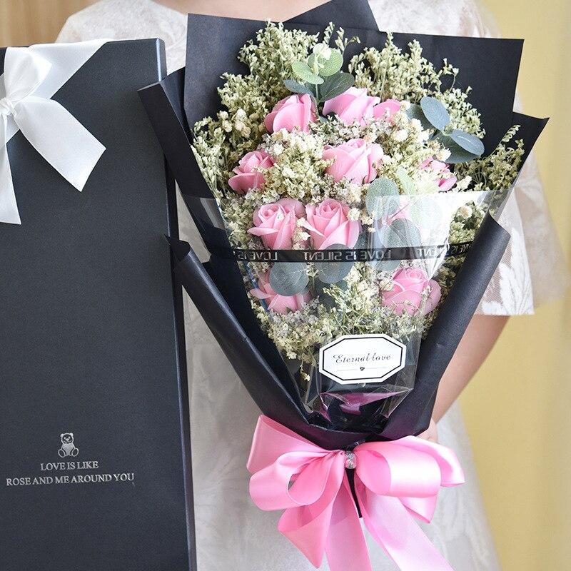 Вечный Angel мыло Роза искусственного кристалла травы и звёздное небо букет с подарочной коробке подарок на день рождения