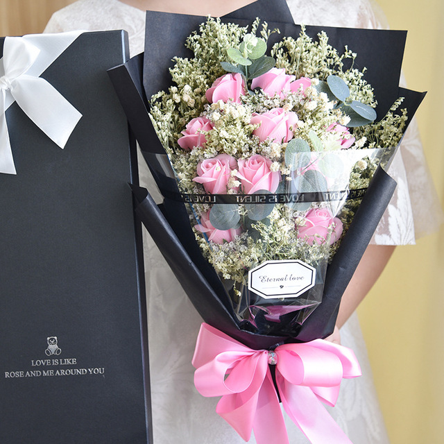 Eternal Angel Soap Rose Artificial Crystal Grass And Starry Sky Flower Bouquet With Gift Box Birthday
