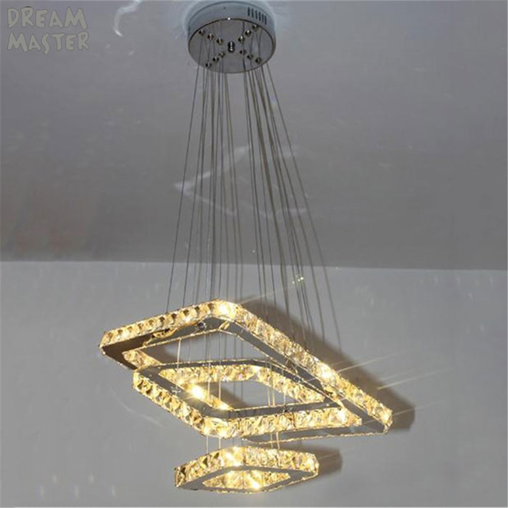 3 rings square led chandelier K9 Crystal LED hanging lighting 3 ...