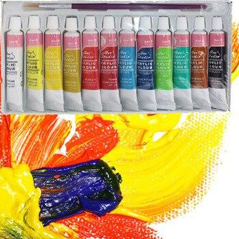 FangNymph 12 צבעים מקצועי אקריליק צבעי סט יד צבוע קיר ציור טקסטיל צבע צבעוני אספקת אמנות