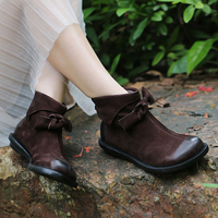 VALLU New Design Bow Knot Ankle Women Boots Handmade Lovely Low Heel Lady Booties Back Zipper Female Footwear Shoes