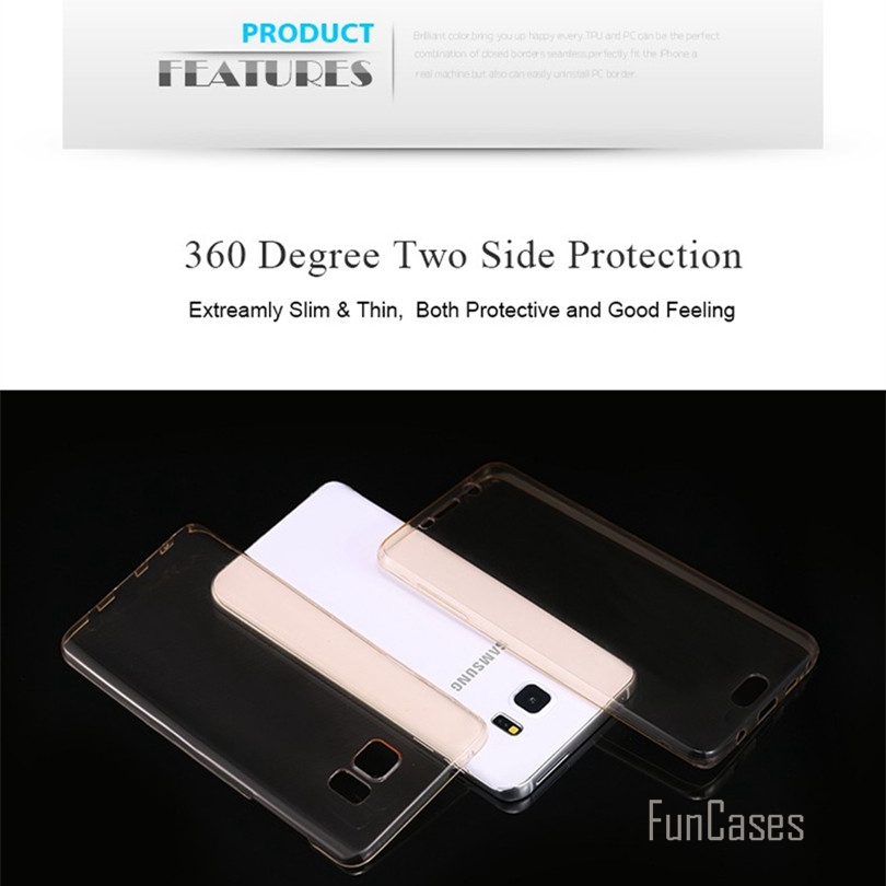 (Front+Back Cover Gel Series), Shockproof TPU 360 degree Protective Clear Crystal Soft Case Cover For Samsung Galaxy For iPhone
