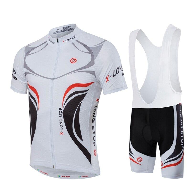 цена на Hot SAIL SUN Men Bike Jersey Bib Shorts Black White MTB Team Cycling Jersey Top Summer Pro Bicycle Clothing  Bike Shirt