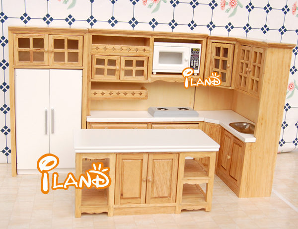 Iland Furniture Wood Oak Kitchen Set Fridge Microwave Oven Baking For 1 12 Dollhouse