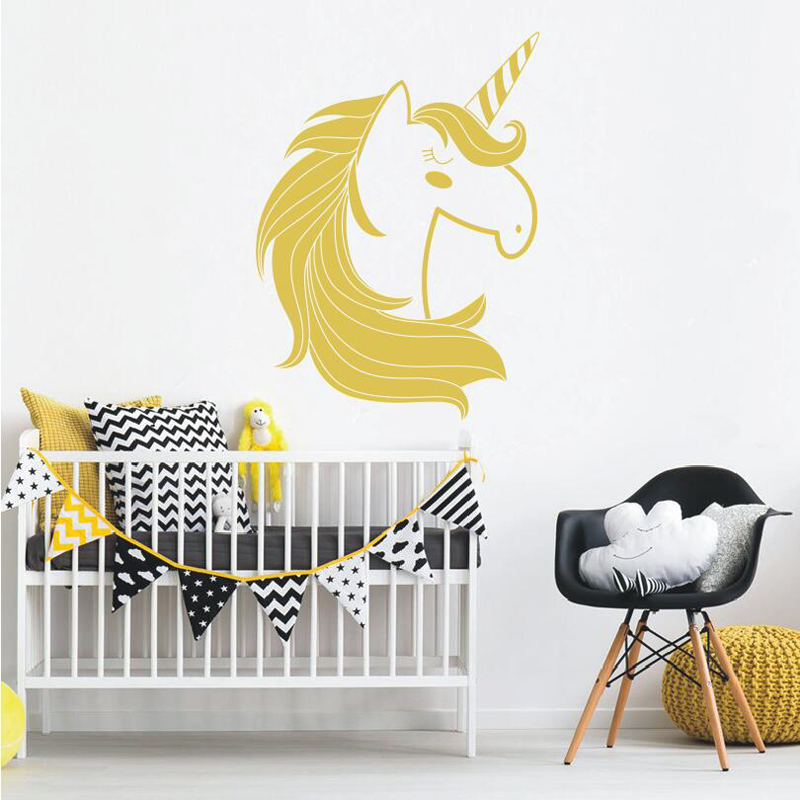 Unicorn Wall Decal Cute Unicorn Vinyl Decal for Kids Room Baby ...