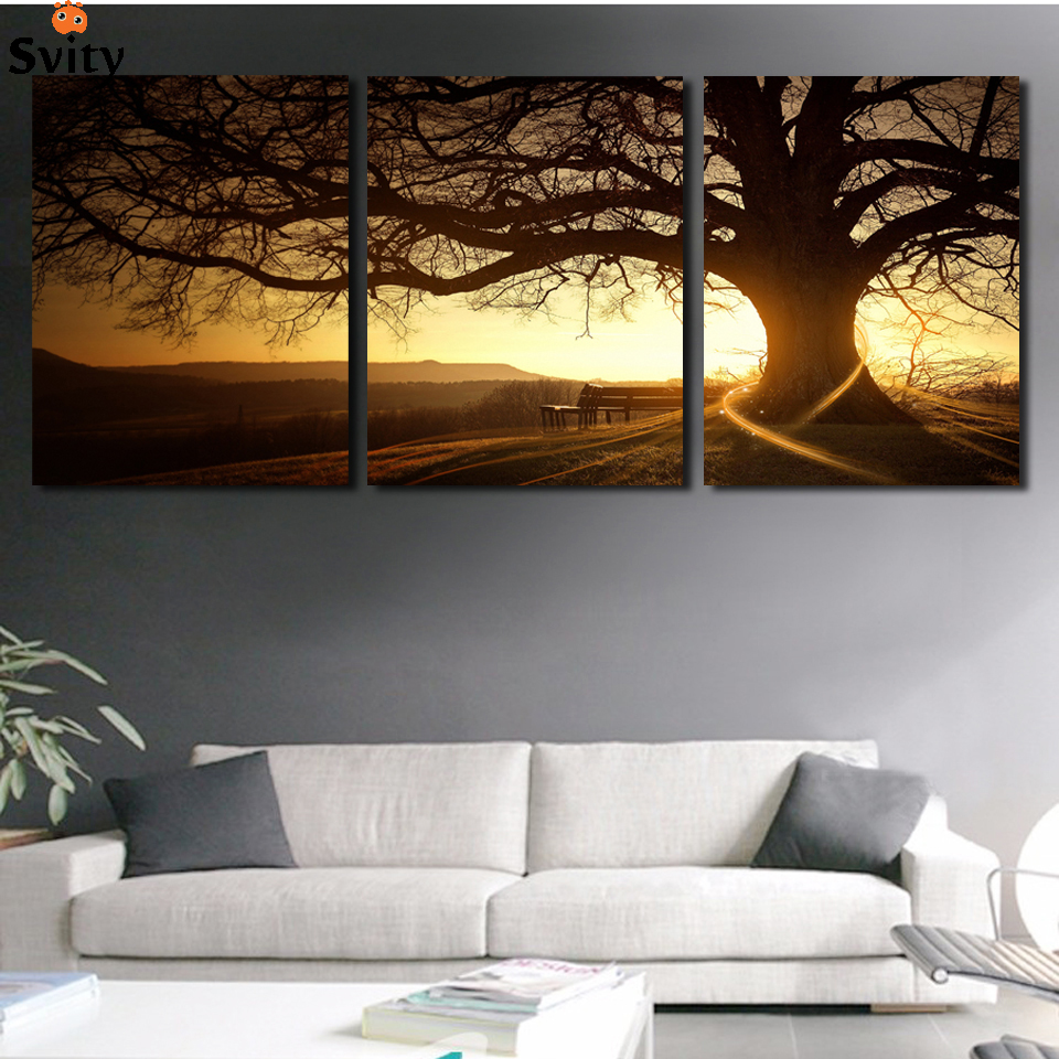 3 Panel Modern Printed Tree Painting Picture Cuadros Sunset