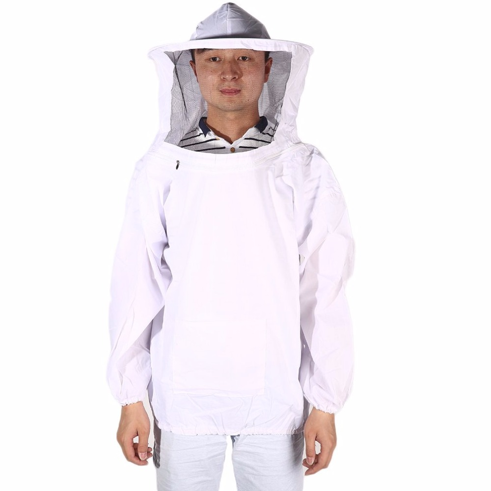 LESHP Durable Protective Beekeeping Jacket Clothes Qulaity Cotton White Pull Over Smock with Veil Suit Smock Equipment цены