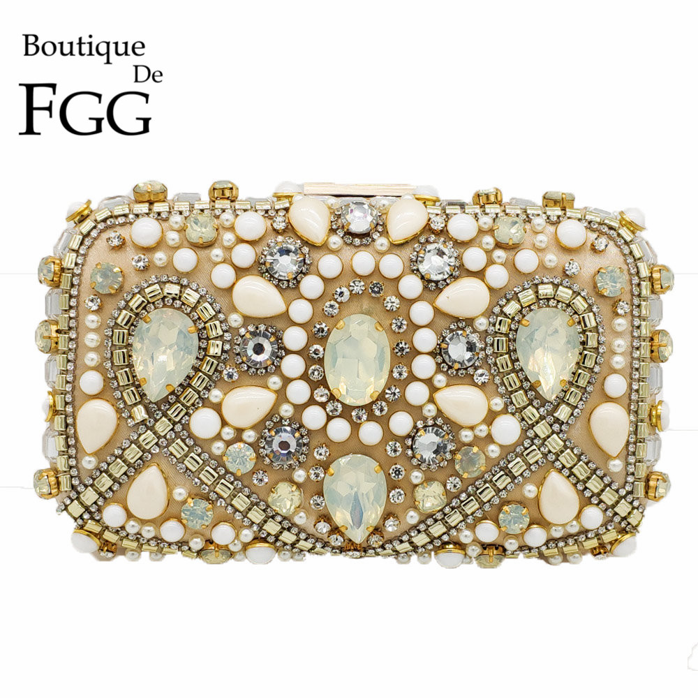 Womens Pearl Clutch Bags Ladies Rhinestone Beaded Evening Bridal Wedding Handbag