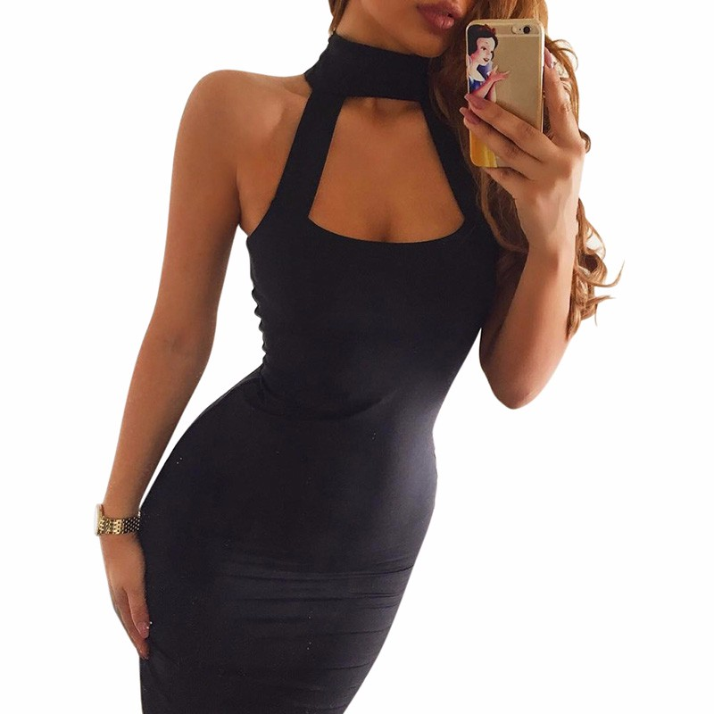 rofesaron Summer Women Party Dress Sexy Black Vestidos