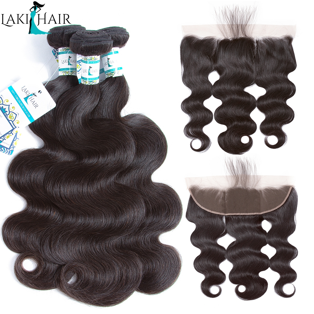 1  Brazilian Hair Weave Bundles With Frontal three Pcs Physique Wave Bundles With 13×4 Lace Frontal Pure Coloration 100% Remy Hair Lakihair HTB1WdO8X6fguuRjSszcq6zb7FXaY