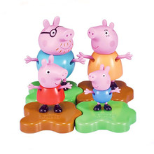 4pc/lot Genuine Peppa Pig-- Peppa's family dolls Peppa Geroge Daddy Mommy Mud Grassland stand Kids Toy Christmas birthday GIFT(China)