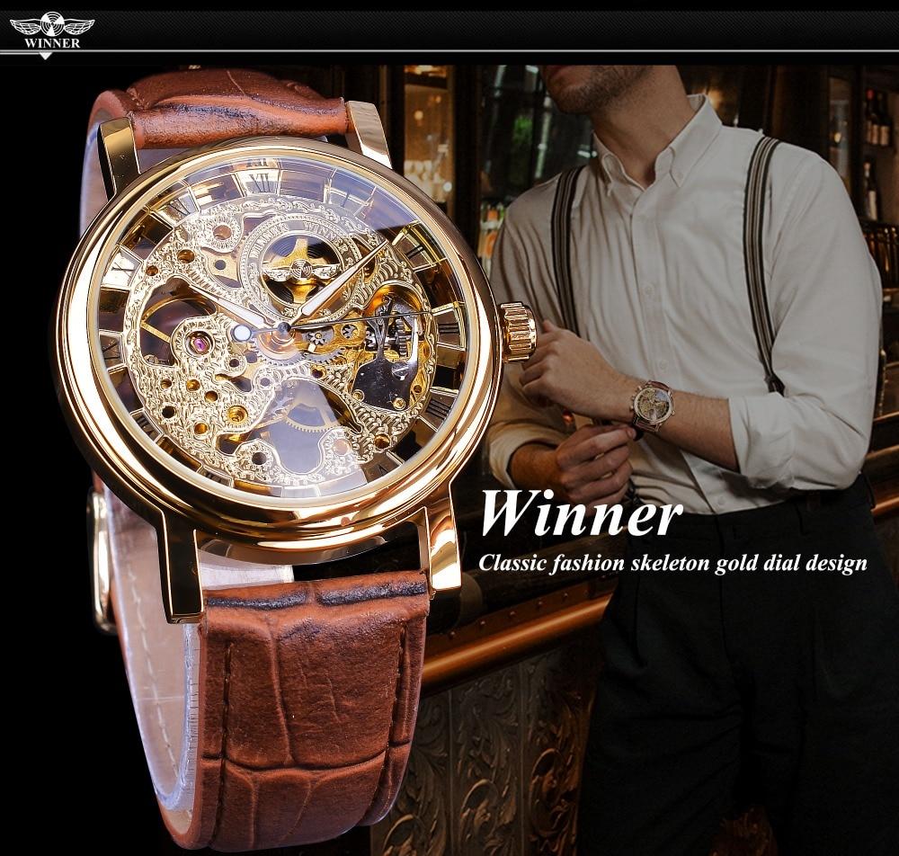 HTB1WdOJXznuK1RkSmFPq6AuzFXa4 Winner Transparent Golden Case Luxury Casual Design Brown Leather Strap Mens Watches Top Brand Luxury Mechanical Skeleton Watch