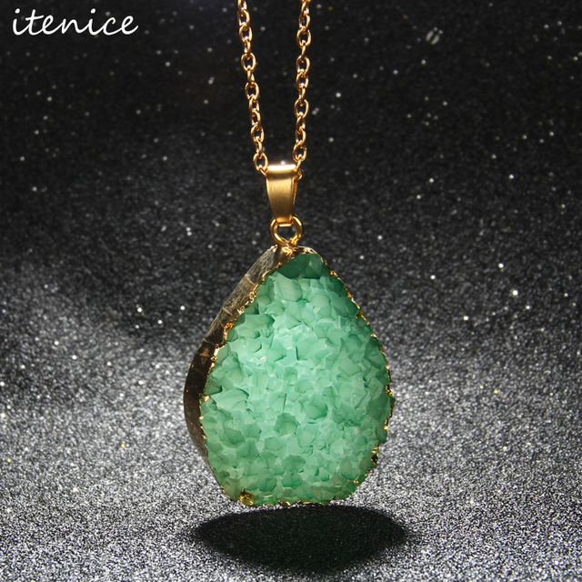 Alibaba aliexpress 2016 2016 imitation brazil natural stone pendantwater drop imitation natural stone necklacegreen crystal mozeypictures Image collections