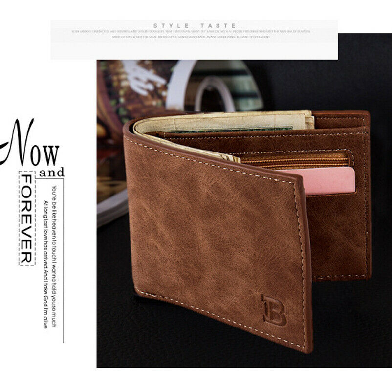 Men's Classic Bi-fold Wallet Fashion Solid Color Purse Credit Card Package With Coin Pocket