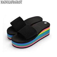 Women Sandals Slippers 2017 New Summer Fashion Rainbow Leopard Muffin Sandals Home Shoes Wedge Heels Beach