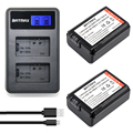 2pc NP-FW50 NP FW50 FW50 Battery+LCD USB Dual Charger for Sony a37 NEX-5 NEX-5A NEX-5C NEX-5D NEX-5DB NEX-5HB NEX-5K Alpha 7R II