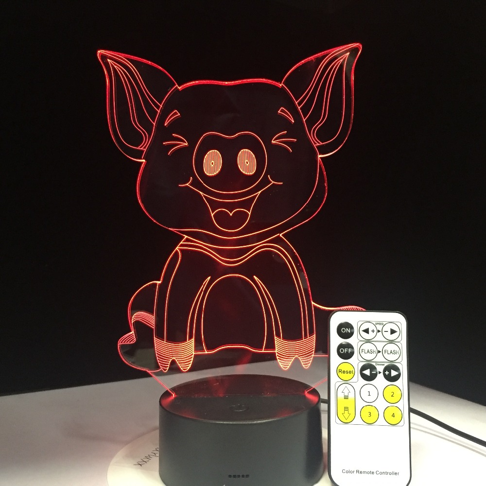 2018 New Fat Pig 3D LED Night Light Lamp Amazing Optical Illusion 7 Colors Table Lamp Decorative Home Lighting or Friend Gift
