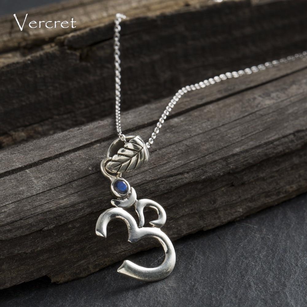 Vercret 925 Sterling Silver Yoga Necklaces Labradorite Om Ohm Symbol Pendant Necklaces for Women Sports Jewelry
