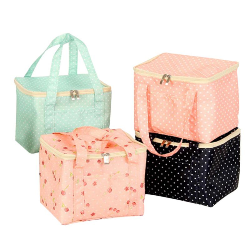 1 pc Lunch Bags Dots Print Oxford for Kids Food Picnic Cooler Bags Insulated Storage Fresh keeping children Bags