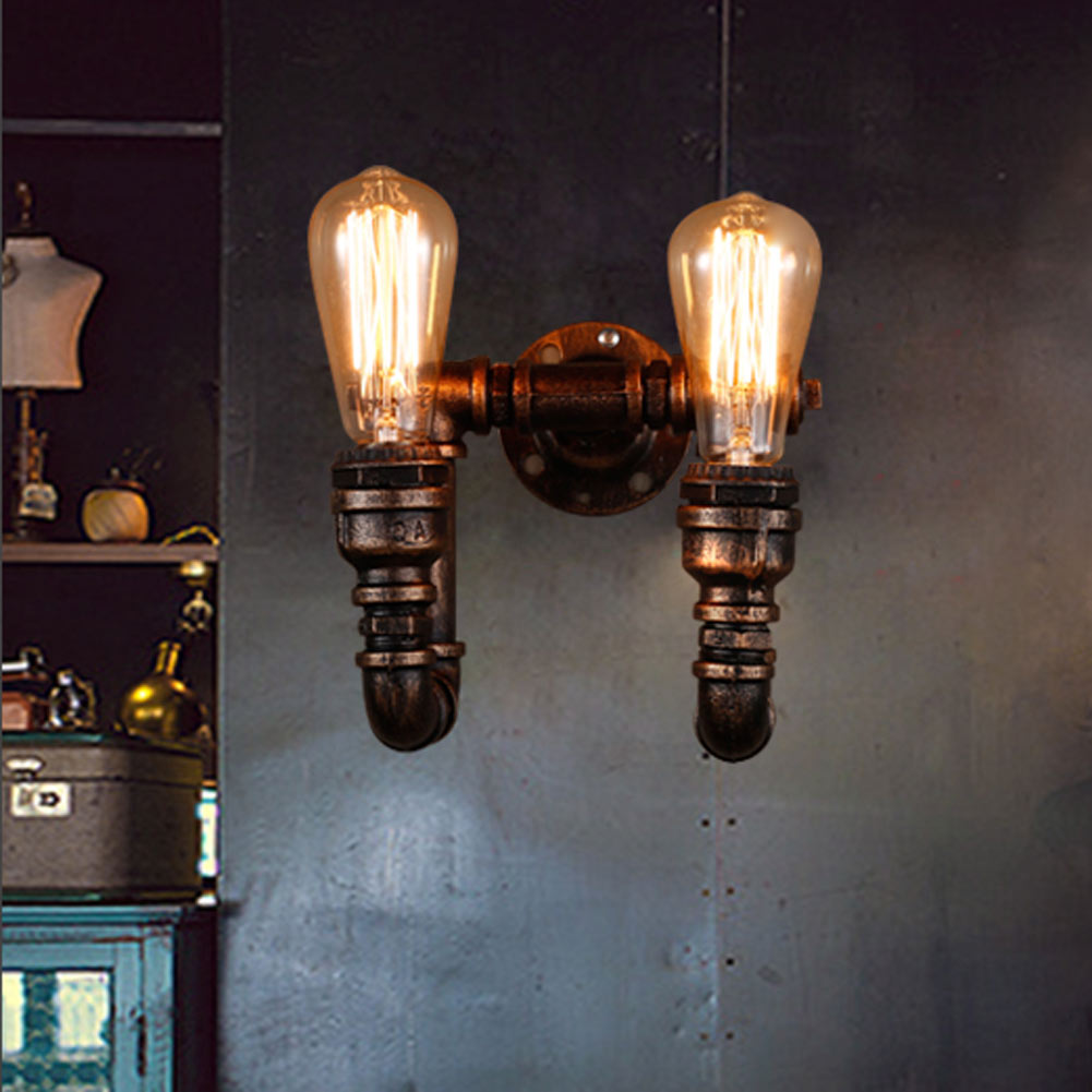 B028 Loft American country Industrial style Iron Retro Water pipe Wall lamps Vintage Lighting E27 Edison bulb wall Lights