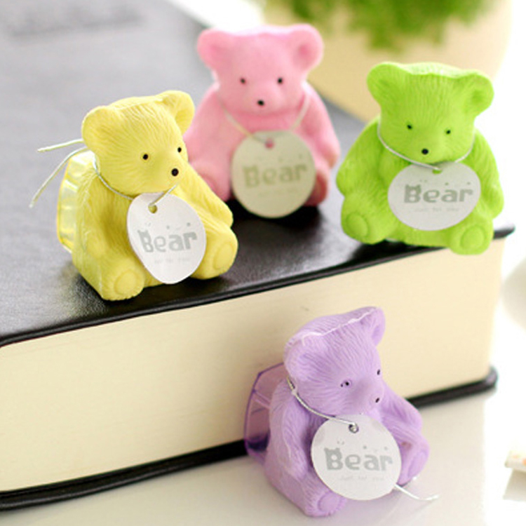 5 Pcs/lot Cute Cartoon Bear Erasers Pure Color Rubber Erasers With Pencil Sharpener Multi-function Stationery