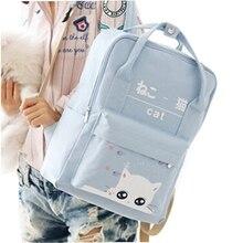 Japan und Koreanischen Stil Frauen Leinwand Rucksack Tier Nette Katze Druck Rucksäcke für Teenager Mädchen Reisen Rucksack Umhängetasche