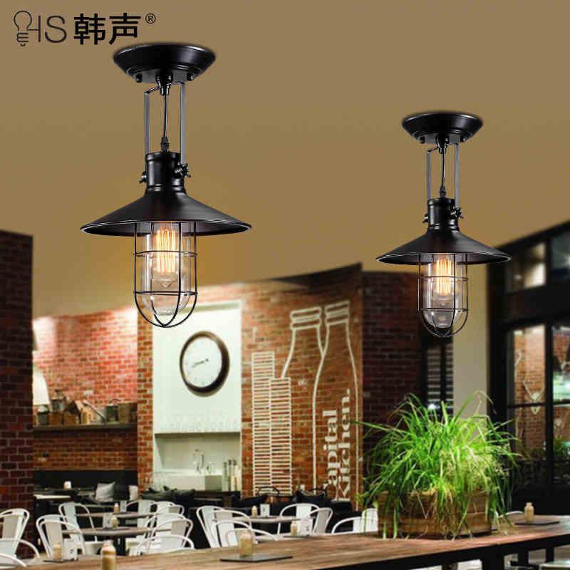 Американский деревня стиле лофт кованого железа промышленного старинные потолочные светильники фойе лампа бары украшение света бесплатна…